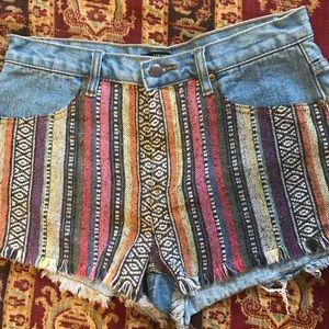 Forever 21 multi colored weaved fringe hem shorts